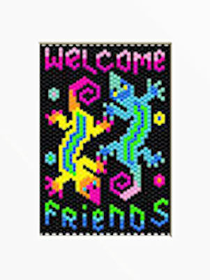 WELCOME FRIENDS~PONY BEAD BANNER PATTERN