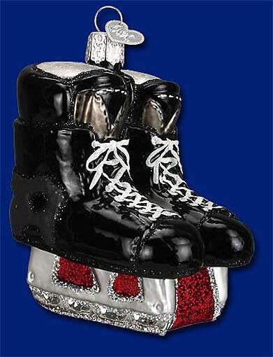 HOCKEY SKATES Winter Sports Glass Ornament Old World Christmas NEW IN BOX