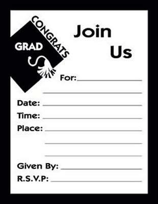 Graduation New Grad Black Post Card Invitations (25 pack) - Grad Invites