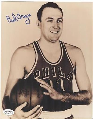 Paul Arizin Signed Photo Philadelphia Warriors JSA COA NBA Greatest 50 Player
