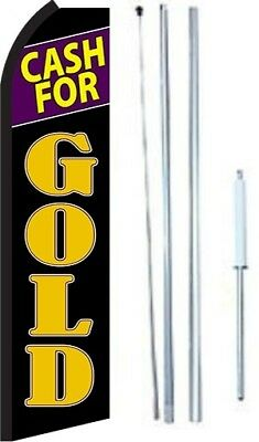 Cash For Gold Swooper Flag With Complete Hybrid Pole Set