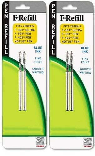 2 Packs- Zebra F-Refills Fine 0.7mm Blue Ink NEW