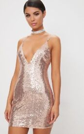PLT Rose Gold Chain Strap Sequin Dress