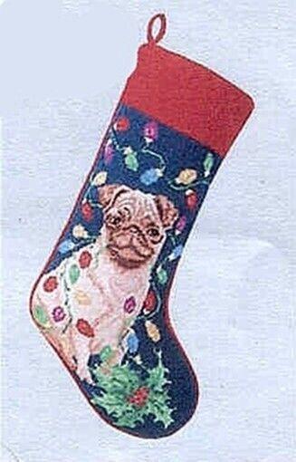 Large Stocking PUG FAWN Dog Breed Needlepoint Christmas Holiday Stocking RETIRED