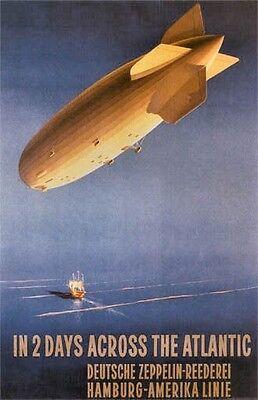 Vintage German  Zeppelin Travel Poster -3-