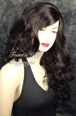 Long Side Skin Part Wavy Wig In Black /100%  Japanese Fibre Best Quality On eBay