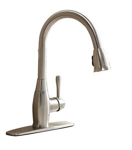 AquaSource Brushed Nickel 1-Handle Pull-Down Kitchen Faucet Fits Sinks 1-3 holes