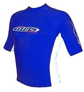 New Men's Small Blue & White RASH GUARD for Surfing Scuba Diving Snorkeling