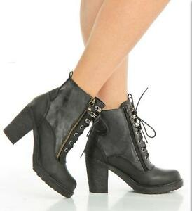 Christina Lace-Up Heeled Booties in Black