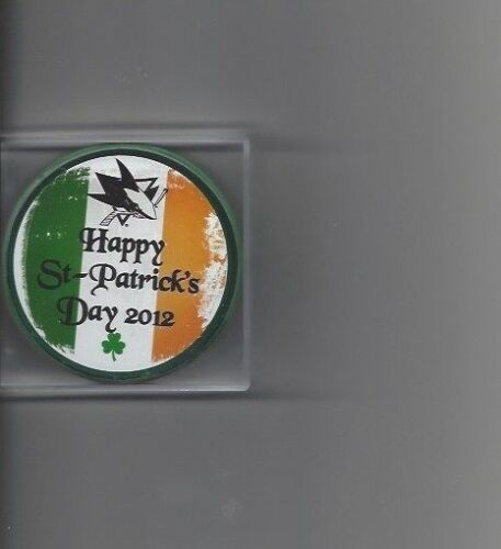 2012 Happy St-Patricks Day SJ Sharks Collectors Series #6 Puck Free Shipping