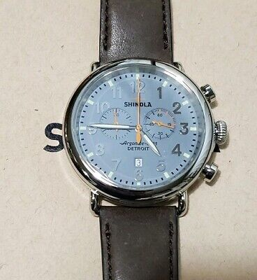 Shinola Runwell Watch With 47mm Slate Blue Cronograph Face & Brown Leather Band