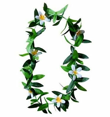 Hawaii Flower Lei Hula Luau Party Wedding Plumeria White Maile Leaf ( QTY 6 )