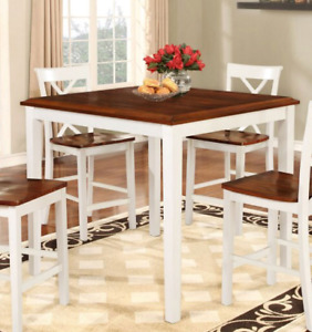 Brown and white table