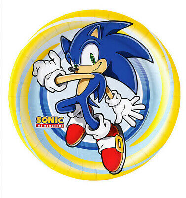 SONIC HEDGEHOG lunch dinner PAPER PLATES birthday party supplies 8pcs 9.5inches