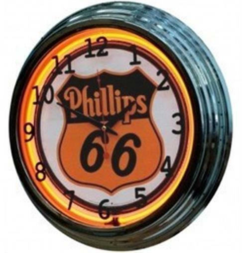 """Details about  /Phillips 66 Gas Oil 19/"""" Double Neon Clock Orange Neon Man Cave Garage Shop"""