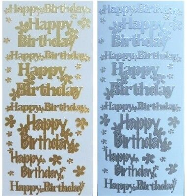 Happy Birthday Peel - HAPPY BIRTHDAY Peel Off Stickers Flowers Sentiments Card Making Gold or Silver