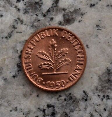 1 Pfennig 1950 D Kursmünze Bundesrepublik Deutschland - Top Prägefrisch !