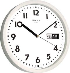 WALL CLOCK DUVE 103639-B PLASTIC ROUND 32 CM DAY DATE QUARTZ WHITE