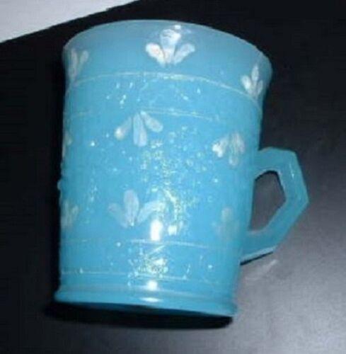 Orange Tree Mug--blue milk glass with decorations--r.cb...787  vintage