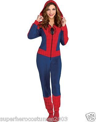 Spiderman Girl Kostüme (The Amazing Spider-Man Spider-Girl Costume Cozie Jumpsuit Pajamas Size Large-XL)