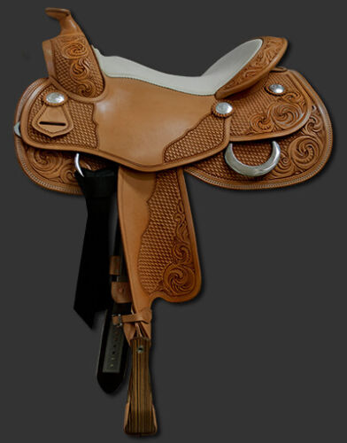 """Western butter fly look saddle 16"""" on eco-leather buffalo on drum dye finish."""