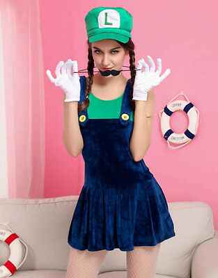 Sexy Cute Luigi Plumber Halloween Costume Womens Adult NEW Nintendo Video Game - Luigi Women Halloween Costume