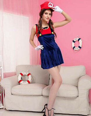 Sexy Cute Mario Plumber Halloween Costume Womens Adult NEW Nintendo Video Game](Mario Halloween Costumes For Women)