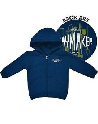 Farm Boy Authentic Navy Blue Haymaker Toddler Full Zip Hoodie Jacket 2T Nwt