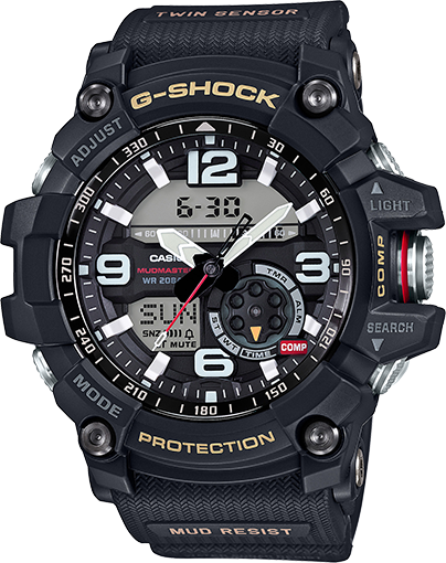 Casio G-Shock Mudmaster Men's Twin Sensor Black Resin Strap 55mm Watch GG1000-1A