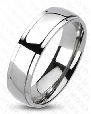 Classic Beveled Solid Titanium Wedding Ring Band Size 5-14 Beveled Titanium Wedding Band