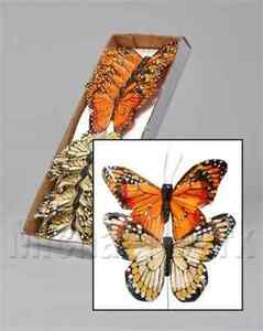 NEW OASIS® 7cm Feather Butterflies on Wire - Yellow/Orange (box of 12)