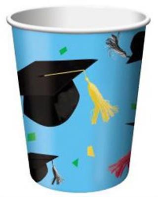 Cap Toss 7 oz Hot/Cold Paper Cups 8 Pack Graduation Party Decorations 7 Oz Hot Cold Cup