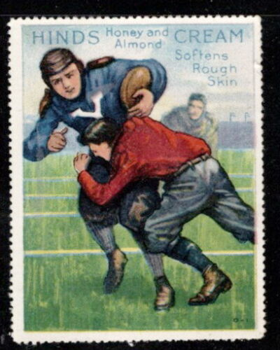 1915 Hinds Honey and Almond Cream Stamp # 11 Football, Yale & Harvard?, RARE 2nd