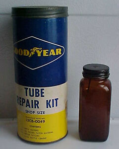 1950s-60s GOOD YEAR TUBE REPAIR KIT Tin with Partial Contents