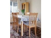 Beech dining table, 6 chairs + coffee table