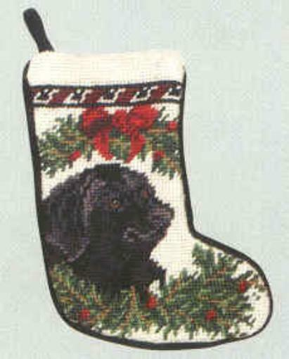 Needlepoint LAB RETRIEVER BLACK Dog Small Christmas Holiday Stocking RETIRED