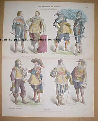 EUROPE 17th Century Historic Dress, Nobles, Original 1880s Stone Lithograph
