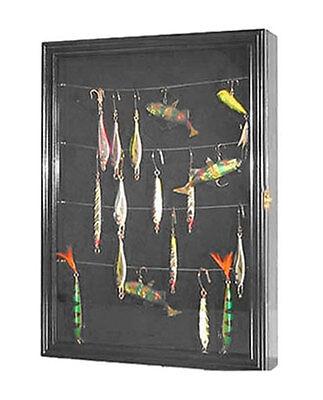Fishing Lure, Bait, spoon display case cabinet Shadow box w/ Door, FCL01-BLA