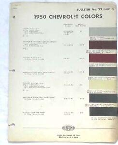 1950 Chevrolet Dupont Color Paint Chip Chart All Models EBay