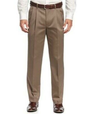 Perry Ellis No Iron Double Pleated Chinos 36 32 Premium Twill Sandstone Pants  Twill Double Pleat Pants