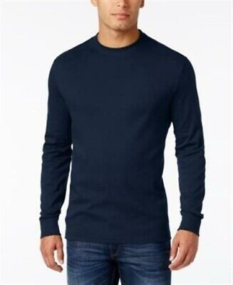 Big And Tall Cotton Pullover (John Ashford Mens Big And Tall Crewneck 3XB Navy Pullover Shirt LS Cotton Soft)