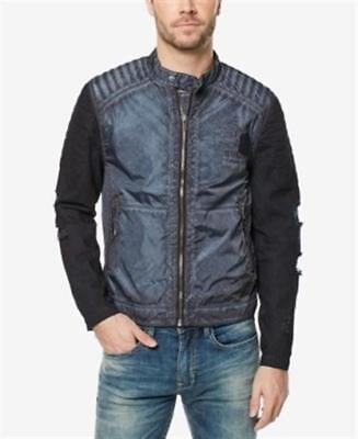 Buffalo David Bitton Jawick Distress Motorcycle Jacket Blue  Mens Size XXL New