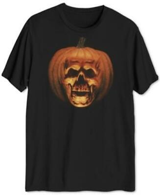Halloween Pumpkin Skull Graphic T-Shirt Black Mens 2XL New - Halloween 2 Pumpkin Skull