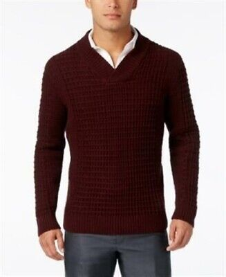 Alfani Men's 3XLT Burgundy Big Tall Cable Knit Textured Shawl Collar Sweater