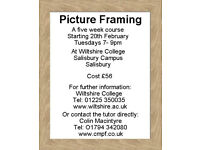 Learn Picture Framing. Tuesdays 7-9pm. A Five Week Course