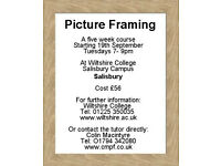 Learn Picture Framing at Wiltshire College, Salisbury Campus. Tuesday evenings for five weeks