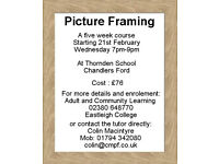 Learn Picture Framing. Wednesdays 7-9pm. A Five Week Course