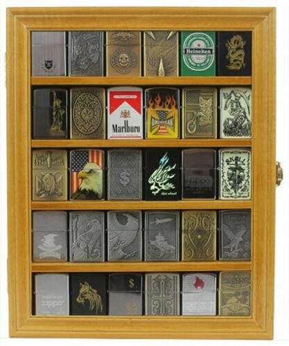 Sport Zippo Cigarette Lighter Display Case Wall Cabinet, Lockable, LC30-OAK