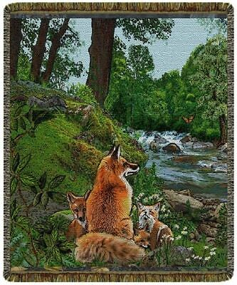 50x60 RED FOX FAMILY Wildlife Tapestry Afghan Throw Blanket Family Tapestry Throw