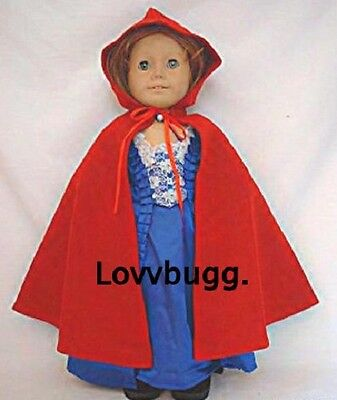 "Lovvbugg Red Wool Cape for 18"" American Girl Doll Clothes"